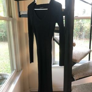 Black Knit Dress with Hood Small